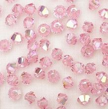3mm Swarovski 5328 Xilion Light Rose AB - 10